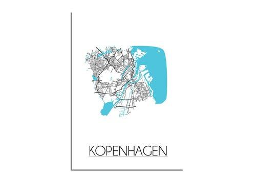 DesignClaud Kopenhagen - Stadskaart - Plattegrond - Interieur poster - Wit