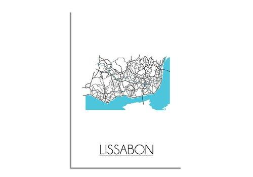 DesignClaud Lissabon - Stadskaart - Plattegrond - Interieur poster - Wit