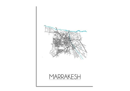 DesignClaud Marrakesh - Stadskaart - Plattegrond - Interieur poster - Wit