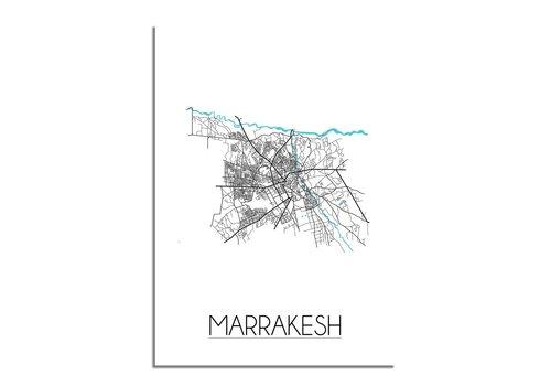 DesignClaud Marrakesh Stadskaart Plattegrond poster - Wit