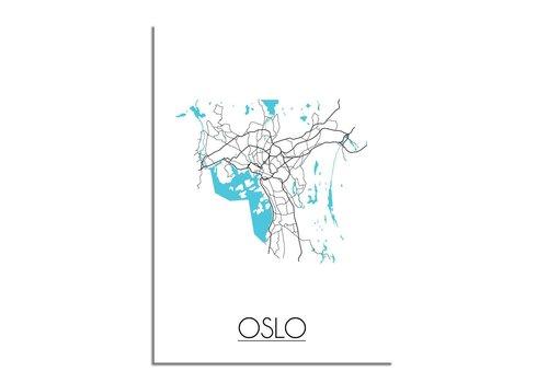 DesignClaud Oslo - Stadskaart - Plattegrond - Interieur poster - Wit