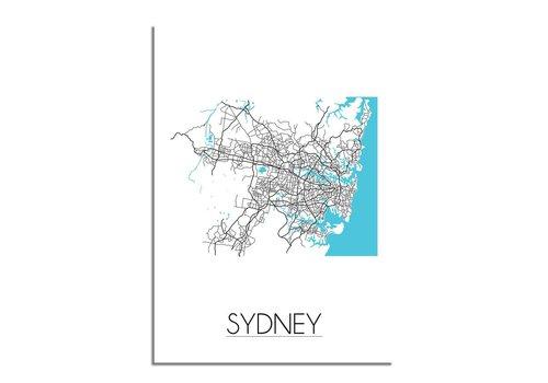 DesignClaud Sydney - Stadskaart - Plattegrond - Interieur poster - Wit