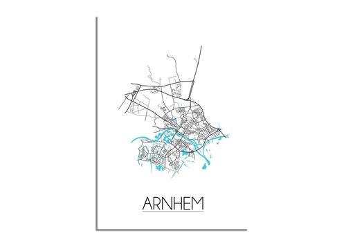 DesignClaud Arnhem - Stadskaart - Plattegrond - Interieur poster - Wit
