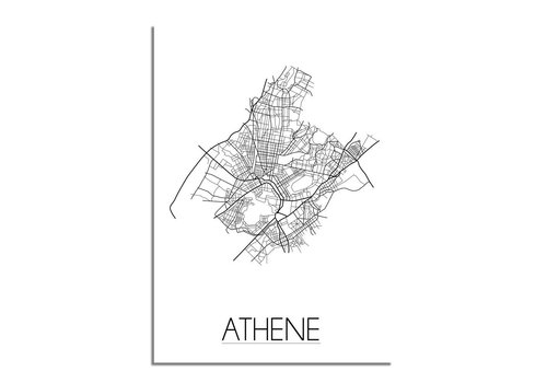 DesignClaud Athene - Stadskaart - Plattegrond - Interieur poster - Wit