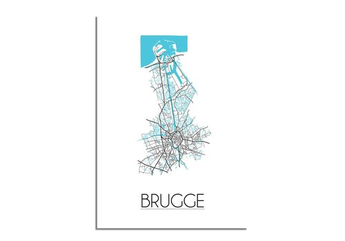 DesignClaud Brugge - Stadskaart - Plattegrond - Interieur poster - Wit