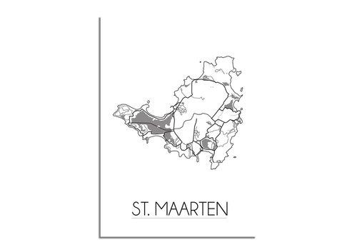 DesignClaud St. Maarten - Landkaart - Plattegrond - Interieur poster - witte achtergrond - zwart wit poster - Grijs