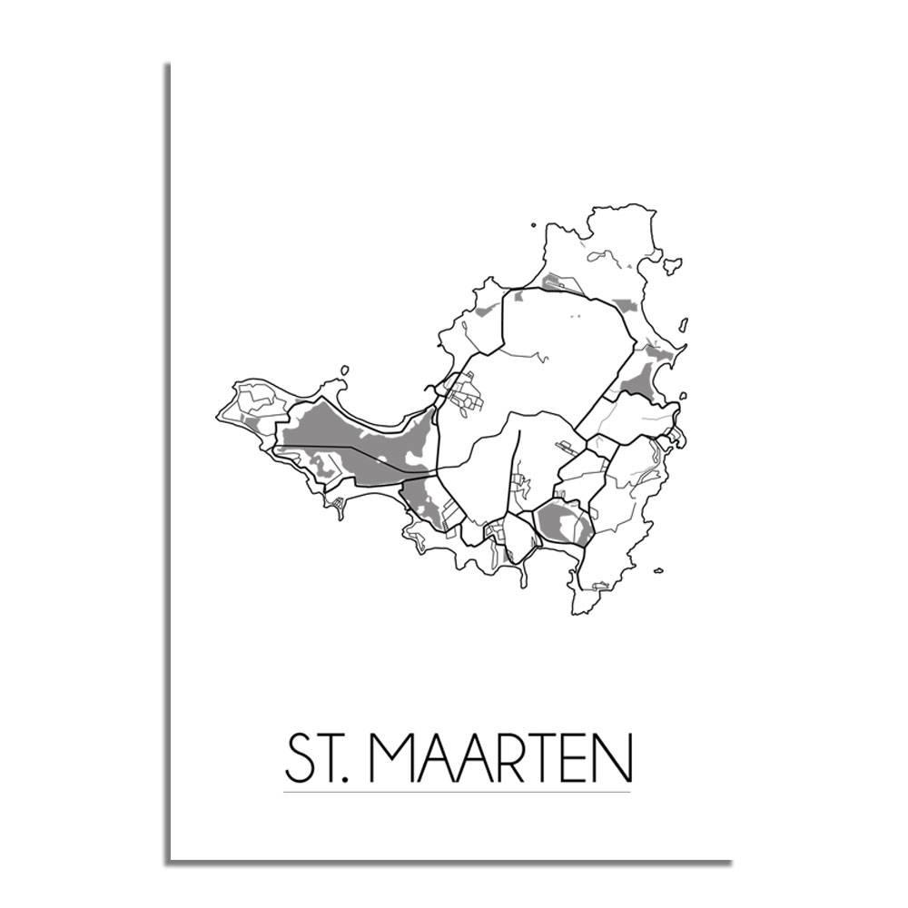 st maarten landkaart plattegrond interieur poster