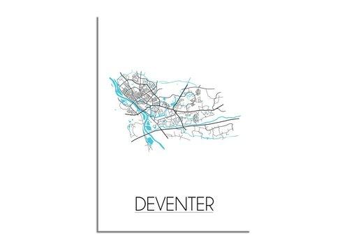 DesignClaud Deventer - Stadskaart - Plattegrond - Interieur poster - Wit