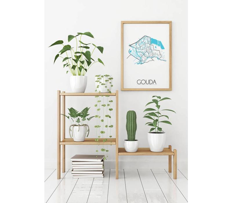 gouda stadskaart plattegrond interieur poster wanddecoratie wit