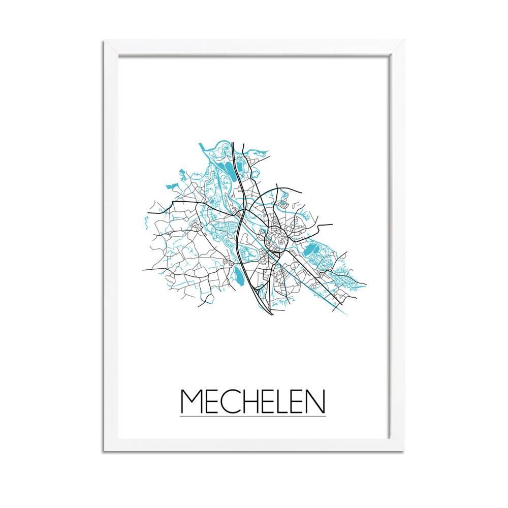 Mechelen stadskaart plattegrond interieur poster for Interieur mechelen