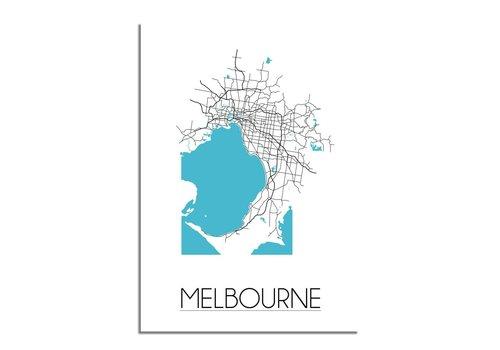 DesignClaud Melbourne - Stadskaart - Plattegrond - Interieur poster - Wit