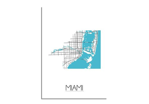 DesignClaud Miami - Stadskaart - Plattegrond - Interieur poster - Wit