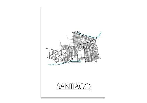 DesignClaud Santiago - Stadskaart - Plattegrond - Interieur poster - Wit
