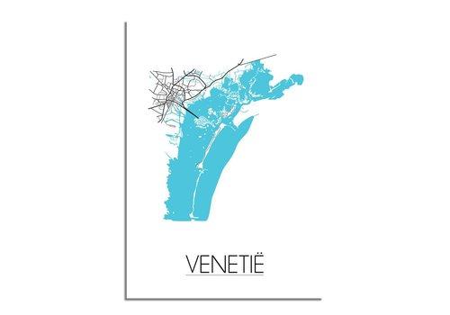 DesignClaud Venetie - Stadskaart - Plattegrond - Interieur poster - Wit