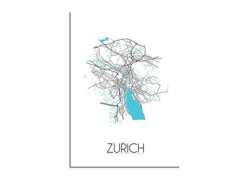 DesignClaud Zurich - Stadskaart - Plattegrond - Interieur poster - Wit