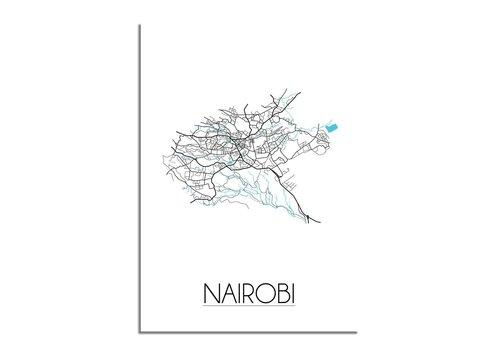 DesignClaud Nairobi - Stadskaart - Plattegrond - Interieur poster - Wit