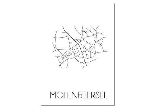DesignClaud Molenbeersel - Stadskaart - Plattegrond - Interieur poster - Wit