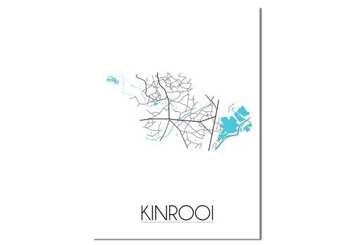 DesignClaud Kinrooi - Stadskaart - Plattegrond - Interieur poster - Wit