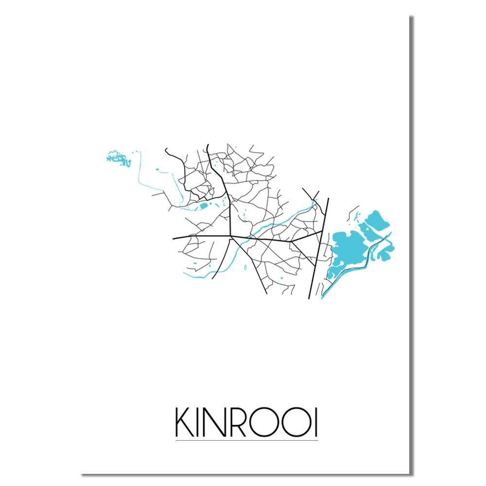 Kinrooij - Stadskaart - Plattegrond - Interieur poster - Wit ...