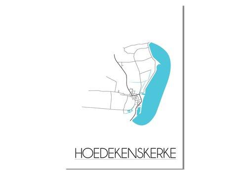 DesignClaud Hoedekenskerke - Stadskaart - Plattegrond - Interieur poster - Wit