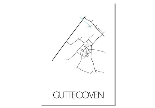 DesignClaud Guttecoven - Stadskaart - Plattegrond - Interieur poster - Wit