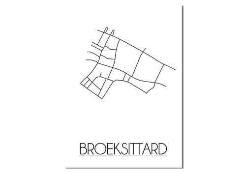 DesignClaud Broeksittard - Stadskaart - Plattegrond - Interieur poster - Wit