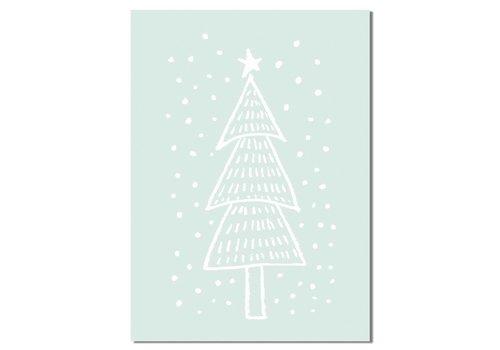 DesignClaud Weihnachtsbaum - Handgezeichnet - Weihnachtsposter - Innenposter - Wanddekoration - Textposter - Minze