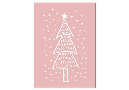 DesignClaud Weihnachtsbaum - Handgezeichnet - Weihnachtsposter - Textposter - Pink