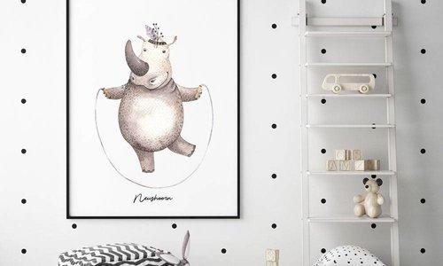 Waterverf stijl dieren posters voor in de kinderkamer