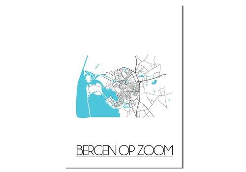 DesignClaud Bergen op Zoom - Stadskaart - Plattegrond - Interieur poster - Wanddecoratie - Wit