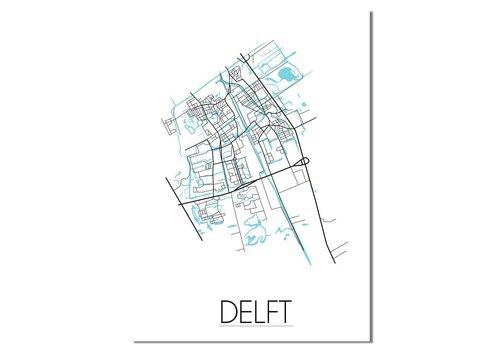 DesignClaud Delft - Stadskaart - Plattegrond - Interieur poster - Wanddecoratie - Wit