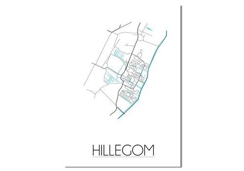 DesignClaud Hillegom - Stadskaart - Plattegrond - Interieur poster - Wanddecoratie - Wit