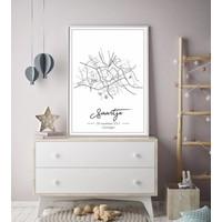 Geboorteposter Grijs - Stadskaart - Geboorteplaats