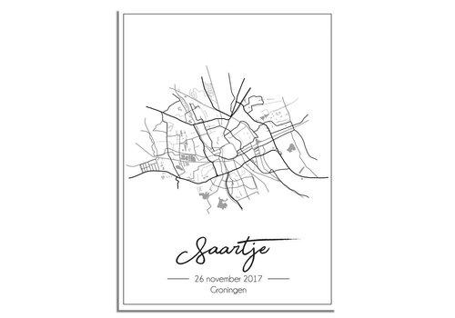 DesignClaud Geboorteposter - Stadskaart - Geboorteplaats