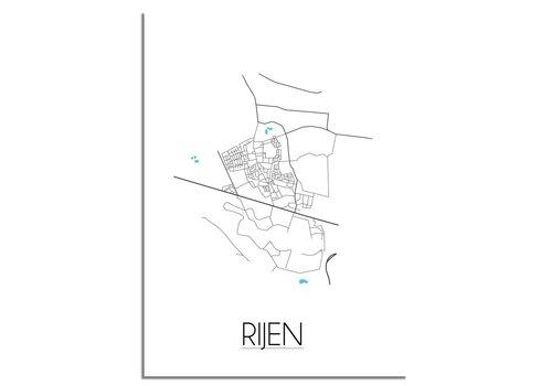 DesignClaud Rijen - Stadskaart - Plattegrond - Interieur poster - Wanddecoratie - Wit