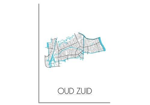 DesignClaud Oud Zuid - Amsterdam - Stadskaart - Plattegrond - Interieur poster - Wanddecoratie - Wit