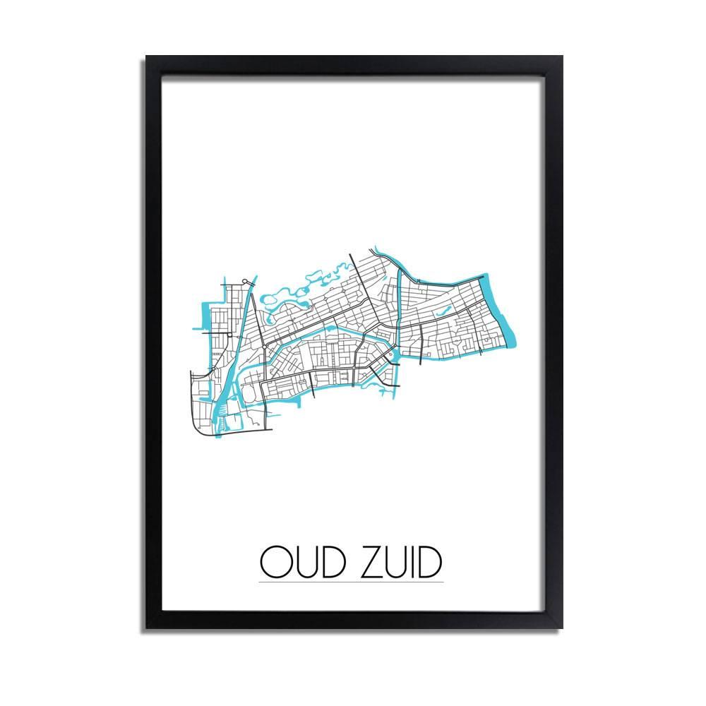 Oud Zuid Amsterdam - Stadskaart - Plattegrond - Interieur poster ...