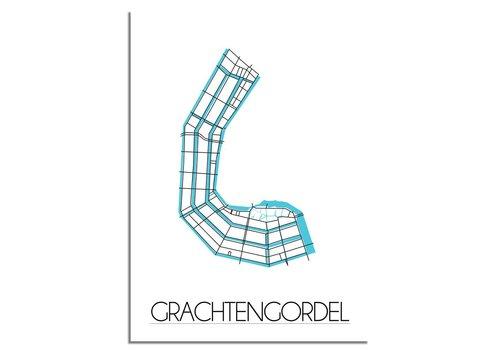 DesignClaud Grachtengordel - Amsterdam - Stadskaart - Plattegrond - Interieur poster - Wanddecoratie - Wit