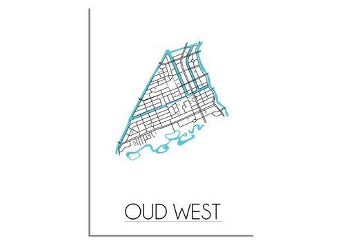 DesignClaud Oud West - Amsterdam - Stadskaart - Plattegrond - Interieur poster - Wanddecoratie - Wit