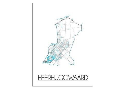 DesignClaud Heerhugowaard - Stadskaart - Plattegrond - Interieur poster - Wanddecoratie - Wit