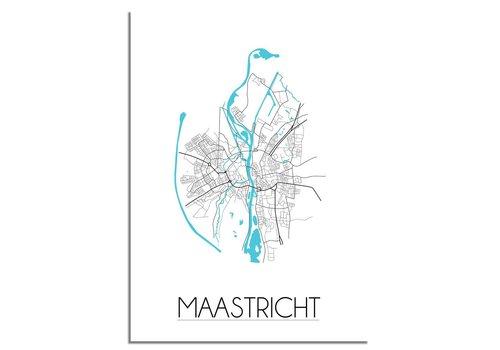 DesignClaud Maastricht - Stadskaart - Plattegrond - Interieur poster - witte achtergrond - zwart wit poster