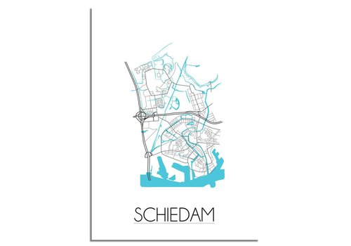 DesignClaud Schiedam - Stadskaart - Plattegrond - Interieur poster - witte achtergrond - zwart wit poster
