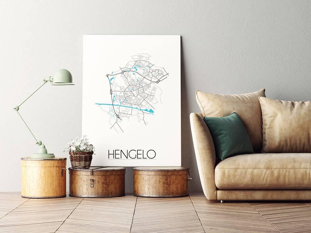 Posters In Interieur : Hengelo stadskaart plattegrond interieur poster