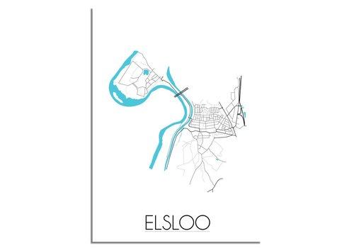 DesignClaud Elsloo - Stadskaart - Plattegrond - Interieur poster - zwart wit poster