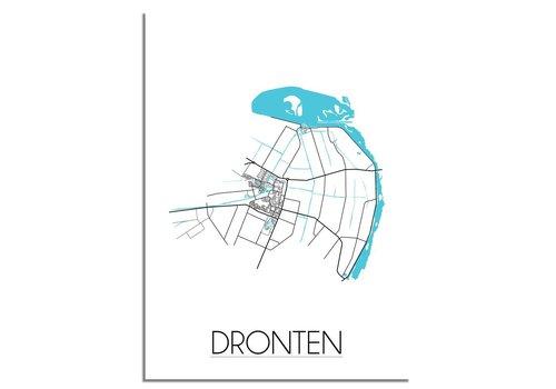 DesignClaud Dronten - Stadskaart - Plattegrond - Interieur poster - zwart wit poster