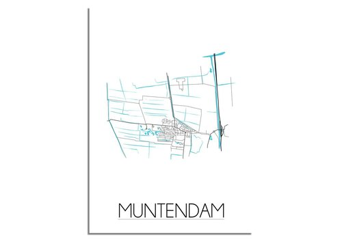 DesignClaud Muntendam - Stadskaart - Plattegrond - Interieur poster - zwart wit poster