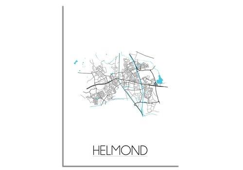 DesignClaud Helmond - Stadskaart - Plattegrond - Interieur poster - zwart wit poster