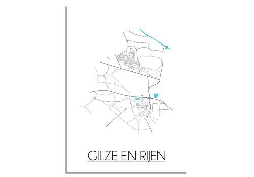 DesignClaud Gilze en Rijen - Stadskaart - Plattegrond poster - Wanddecoratie - Wit