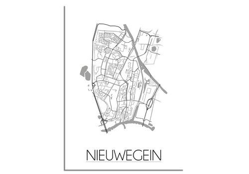 DesignClaud Nieuwegein Stadskaart Plattegrond poster - Interieur poster - Wit