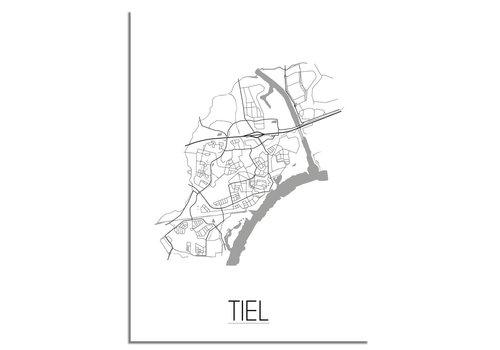 DesignClaud Tiel Stadskaart Plattegrond poster - Interieur poster - Wit
